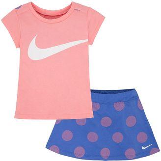 Toddler Girl Nike Swoosh Print Tee & Polka-Dot Skort Set $36 thestylecure.com