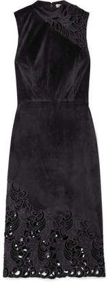 Alice + Olivia Alice Olivia - Kiana Velvet And Lace Dress - Black