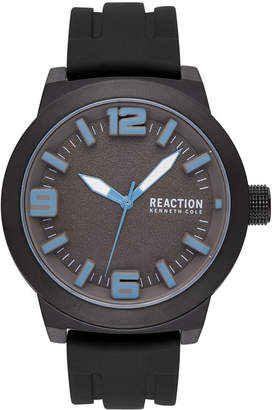 Kenneth Cole Reaction Men's Black Silicone Strap Watch 45mm
