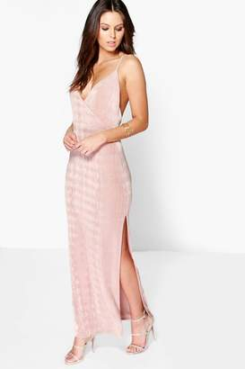 boohoo Lacy Strappy Drape Front Thigh Split Maxi Dress $35 thestylecure.com