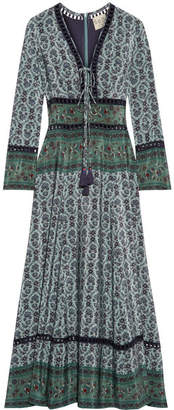 SEA - Crochet-trimmed Printed Silk Maxi Dress - Emerald $665 thestylecure.com