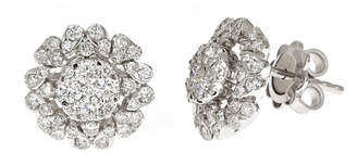 Neiman Marcus Diamonds 14k White Gold Diamond Flower Stud Earrings