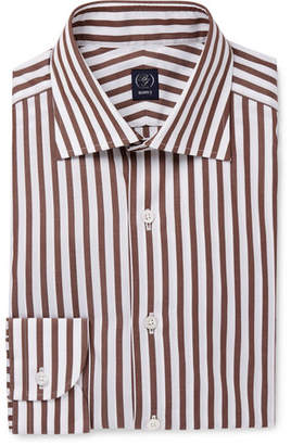 Beams Brown Striped Cotton-poplin Shirt - Brown