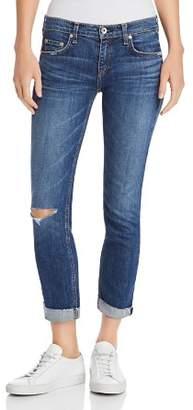 Rag & Bone Dre Distressed Slim Boyfriend Jeans in Java Blue with Holes