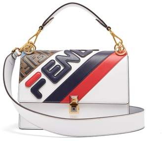 86633c4756d4 Fendi Mania Kan I Logo Applique Leather Shoulder Bag - Womens - White Multi
