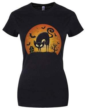 Grindstore The Sorcerers Cat Womens Black Halloween T-Shirt 16