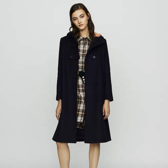 Maje Long coat with faux-fur lined hood