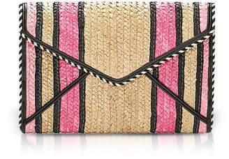 Rebecca Minkoff Pink Multi Straw Leo Clutch