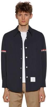 Thom Browne Snap Front Nylon Shirt Jacket W/ Armband