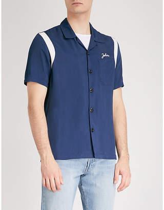 Sandro Embroidered satin bowling shirt