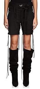 Saint Laurent Women's Cotton-Linen Twill Lace-Up Shorts - Black