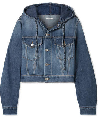 Ganni Cropped Hooded Denim Jacket - Mid denim