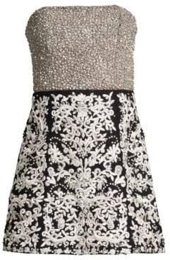 Alice + Olivia Women's Paige Strapless Embroidered Mini Dress - Black Silver - Size 2