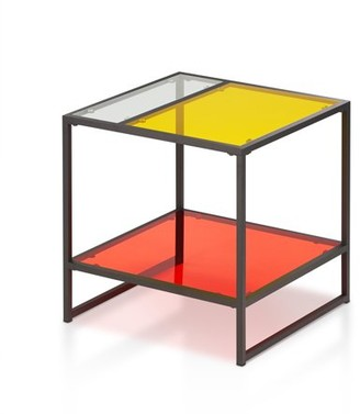 clear Furniture of America Aric Contemporary Glass End Table, Red, Yellow &