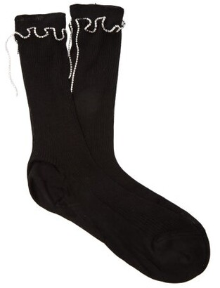Raey Crystal Trimmed Ribbed Silk Socks - Womens - Black
