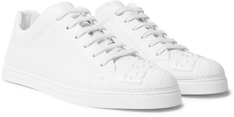 Fendi Logo-Embossed Rubber And Leather Sneakers - Men - White
