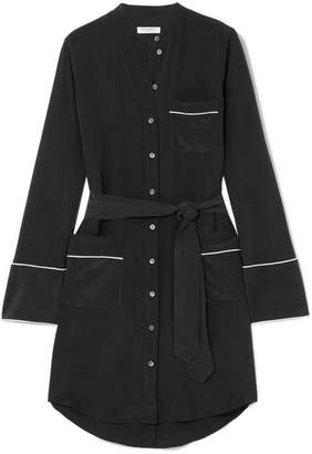 Equipment Britten Washed-silk Mini Shirt Dress - Black