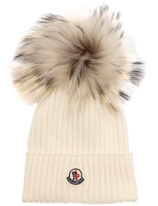 Moncler Wool Knit Beanie W/Fur Pompom