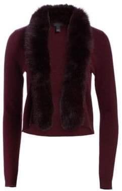 Saks Fifth Avenue Women's COLLECTION Short Fox Fur-Trim Cashmere Cardigan - Ebony - Size Large