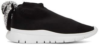 Joshua Sanders Black Crystal Bow Sock Sneakers