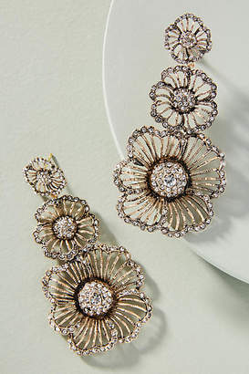 Azaara Crystal Flower Triple Drop Earrings