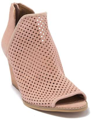 Susina Kinston Perforated Suede Peep Toe Wedge Bootie