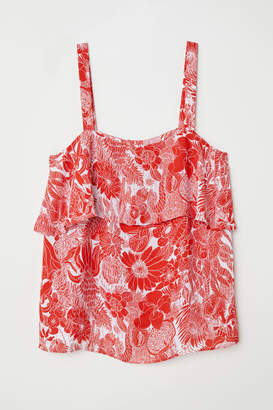 H&M Camisole Top with Flounce - Red