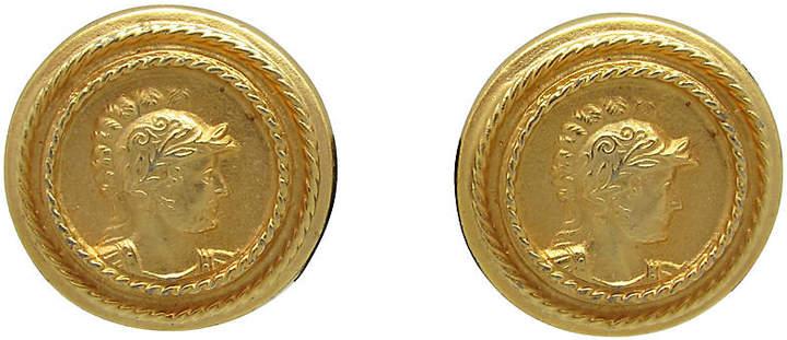 One Kings Lane Vintage Goldtone Grecian Design Earrings
