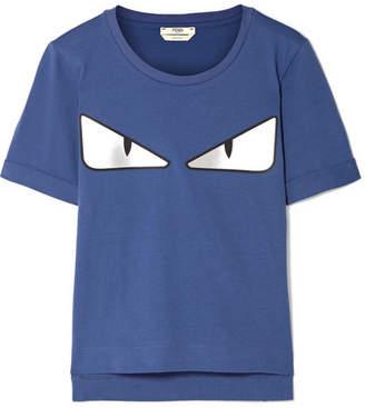 Fendi Wonders Appliquéd Cotton-jersey T-shirt - Storm blue