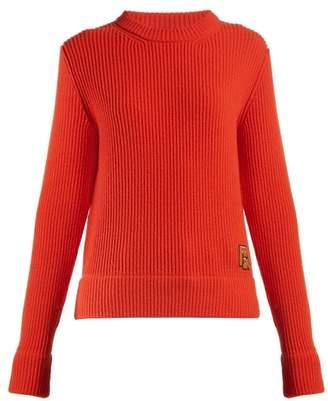 Prada Logo Applique Ribbed Knit Sweater - Womens - Orange