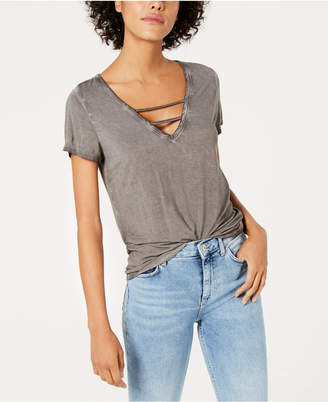 Bar III Strappy V-Neck T-Shirt, Created for Macy's