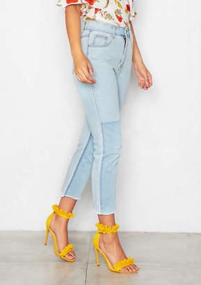 Missy Empire Tammi Denim 2 Tone Light Wash Frayed Hem Jeans