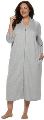 Croft & Barrow Plus Size Long Zip Lounge Robe