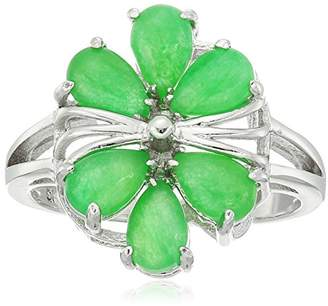Rhodium Plated Sterling Silver Jade Flower Ring