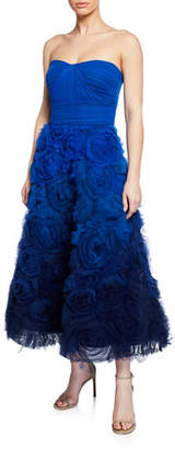 Marchesa Ombre Strapless Textured Tulle Gown with Draped Bodice
