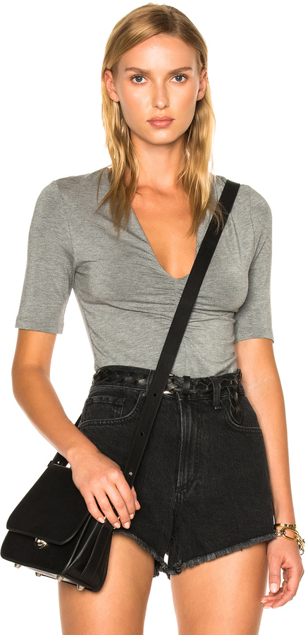 Alexander Wang T by Alexander Wang Modal Spandex Shirred Front Short Sleeve Top