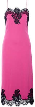 Alice + Olivia Alice Olivia - Luna Lace-trimmed Stretch-silk Midi Dress - Pink