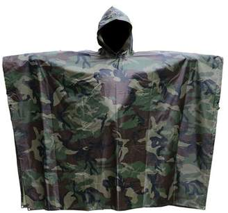 EECOO PVC Camping Hiking Cycling Hunting Multifunction Military Camouflage Portable Rain Poncho Coating Nylon Hooded Ripstop Ripstop Raincoat Camo Totes Travel Rainwear (Forest)