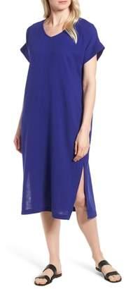 Eileen Fisher V-Neck Cotton Midi Dress