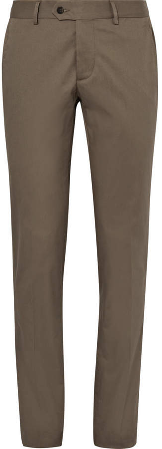 Caruso Caruso Brown Slim-Fit Stretch-Cotton Suit Trousers