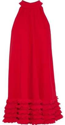 Badgley Mischka Chiffon-Appliquéd Crepe Mini Dress