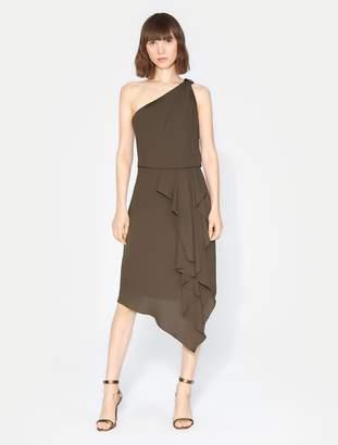 Halston One Shoulder Embellished Drape Dress