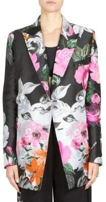 Off-White Jacquard Double-Breasted Floral Jacket