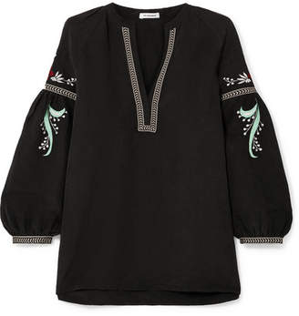 Vilshenko Laura Embroidered Linen And Silk-blend Blouse - Black