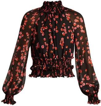 Giambattista Valli Petal-print ruffled silk-georgette blouse
