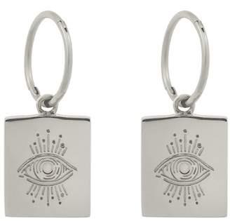 Monarc Jewellery - Evil Eye Plinth Hoops Sterling Silver