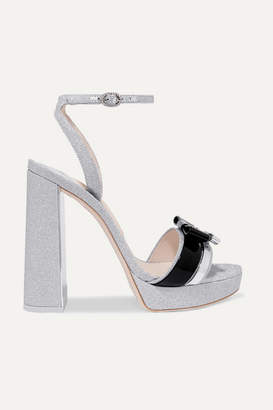 Sophia Webster Andie Bow Leather-trimmed Glittered-leather Sandals - Silver