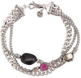 John Hardy Adwoa Aboah Silver and Mixed Stone Classic Chain Triple-Row Bracelet
