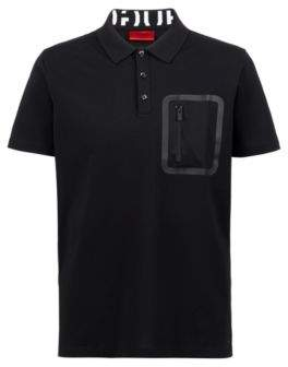 HUGO Boss Knitted polo shirt Permafit finishing & zippered pocket L Black