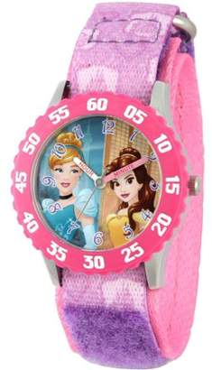 Disney Princess Cinderella and Belle Girls' Stainless Steel Time Teacher Watch, Pink Bezel, Purple Hook and Loop Stretchy Nylon Strap with Pink Backing